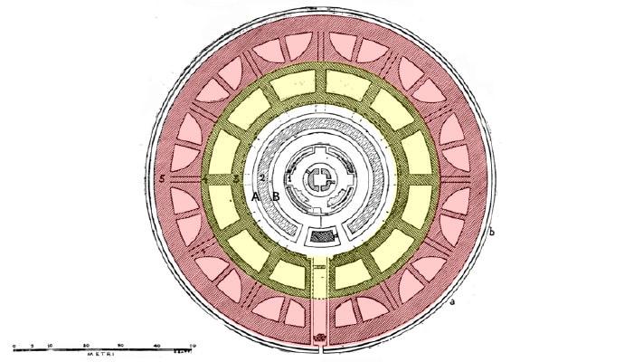 Augustus Mausoleum, Plan (from Gatti 1934).