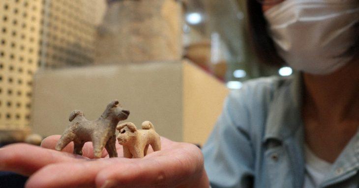 Ancient Dog Figurines Mini Tea Utensils on Display in Nara