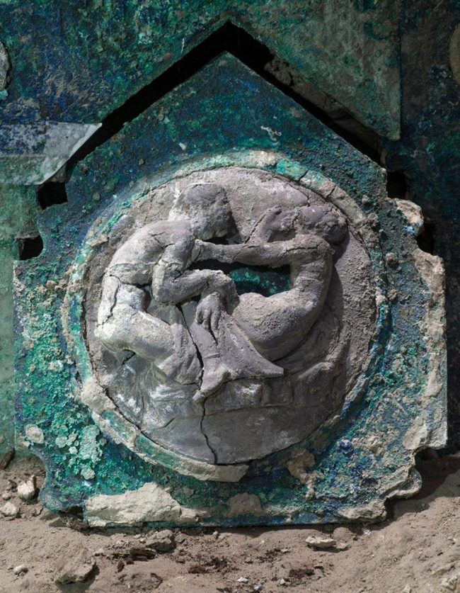 The photo handout from Pompeii Archaeological Park on February 27, 2021 shows the details of a large Roman four-wheeled car found near the Pompeii Archaeological Park.