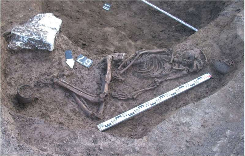 Excavated grave of male skeleton found in the foothills of the North Caucasus.