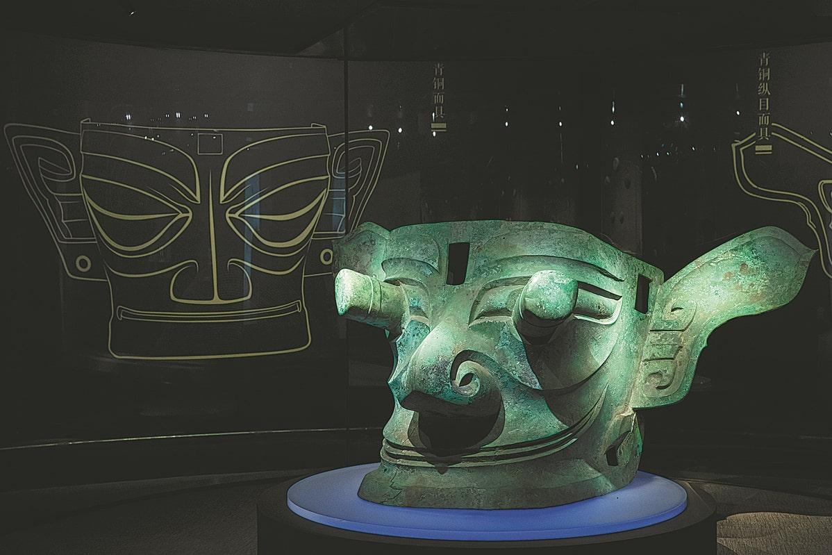 A bronze mask