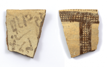 Early alphabetic inscription on a White Slip II rim sherd (Antiquity Publications Ltd//J. Dye, Austrian Academy of Sciences)