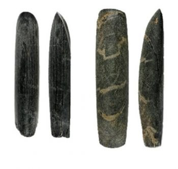Tools found in male graves used during their lifetime for wood working