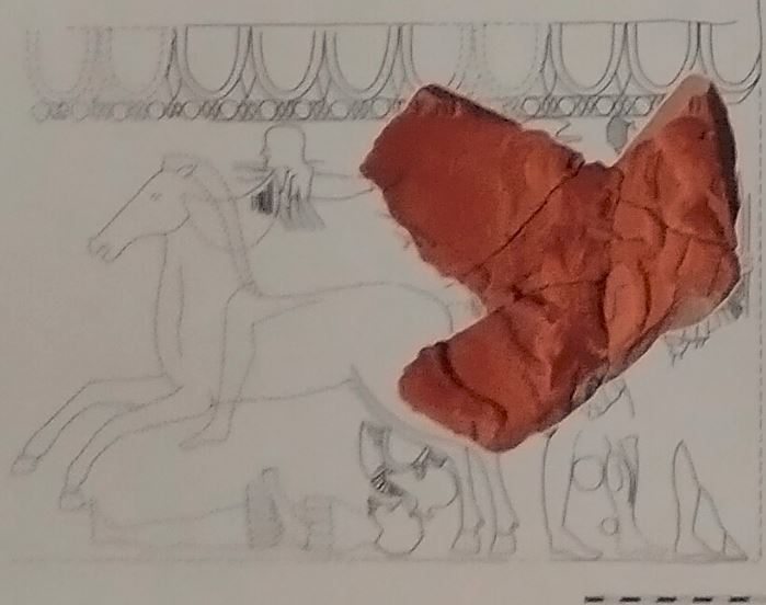 A sketch showing the likely full relief of Ancient Greek hoplite warriors from Sozopol, of which the newly discovered fragment is a part. Photo: Archaeologist Margarit Damyanov, 2020 Bulgarian Archaeology Exhibition poster