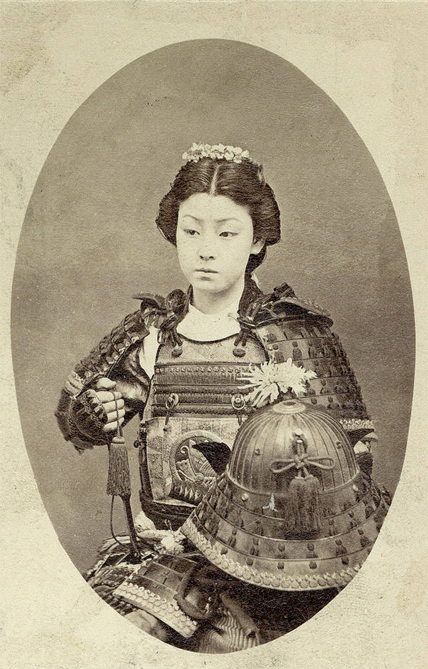 Reconstruction of a photograph of Takeko from the 19th century. Wikimedia Commons
