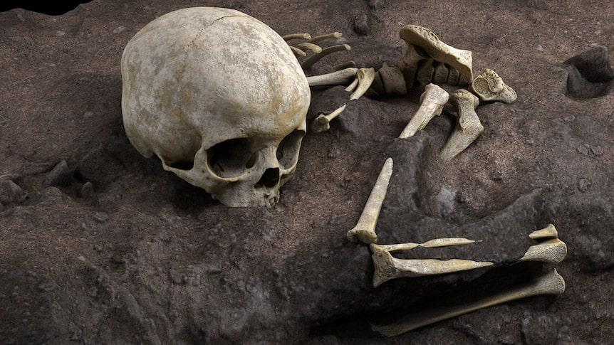 a skeleton buried 78,000 years ago in Kenya.