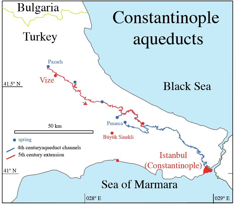The 426-kilometer-long aqueduct system of Constantinople. ill./©: Cees Passchier