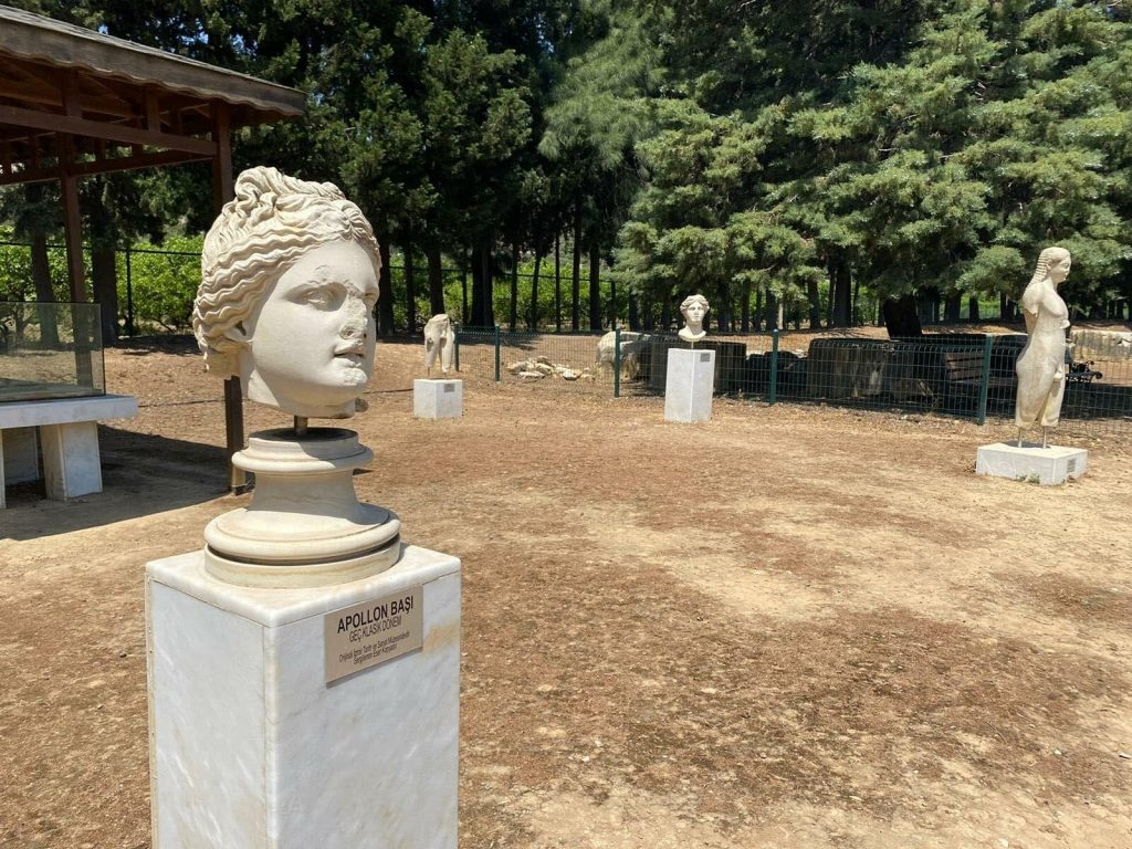 the statues replicas unearthed at Claros in the site's arkeopark.