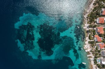 Aerial view of Neolithic settlement in Lumbarda, Croatia