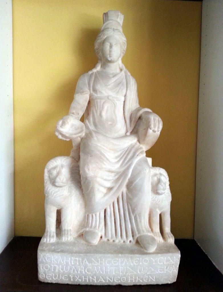 The marble statue of Cybele features lions on either side.