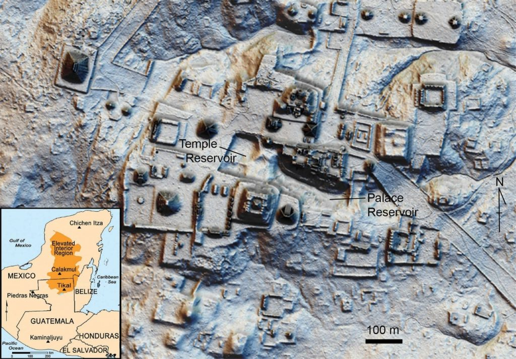 An aerial view using light detection and ranging or LIDAR shows the ancient layout of the city center at Tikal. Graphic/Scientific Reports