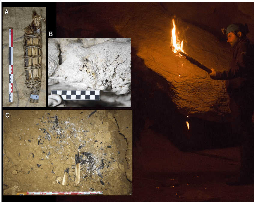 Examples of replicated paleolithic torche. Notice combustion marks left on the cave walls (B) and fallen remains from the torch on the cave floor (C). Photo: PLOS ONE.