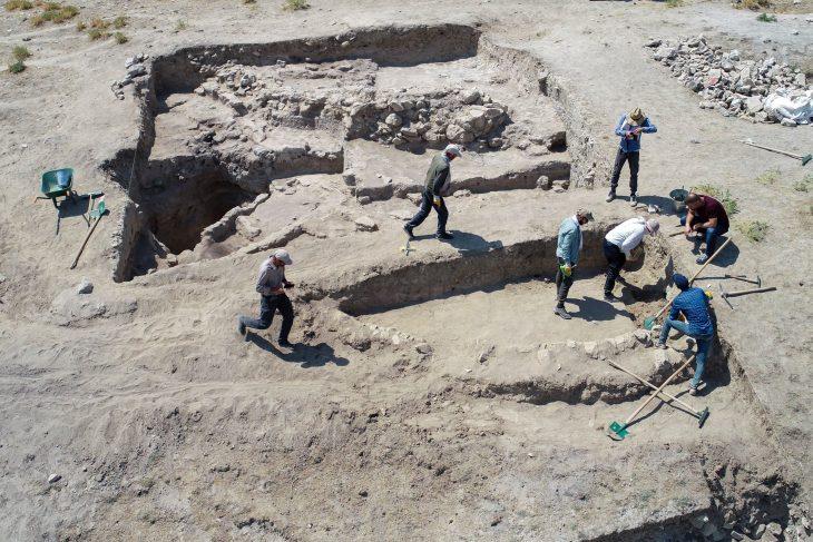 Archaeologists work on the Iremir Mound, Van, eastern Turkey.