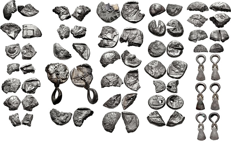 Eastern hacksilver from the Achaemenid Levant, including jewelry and Greek coins, 425-420 BC.