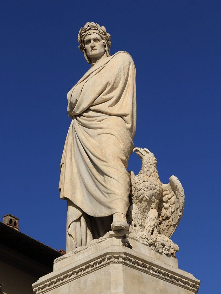 Statue of Dante in the Piazza Santa Croce in Florence, Enrico Pazzi, 1865