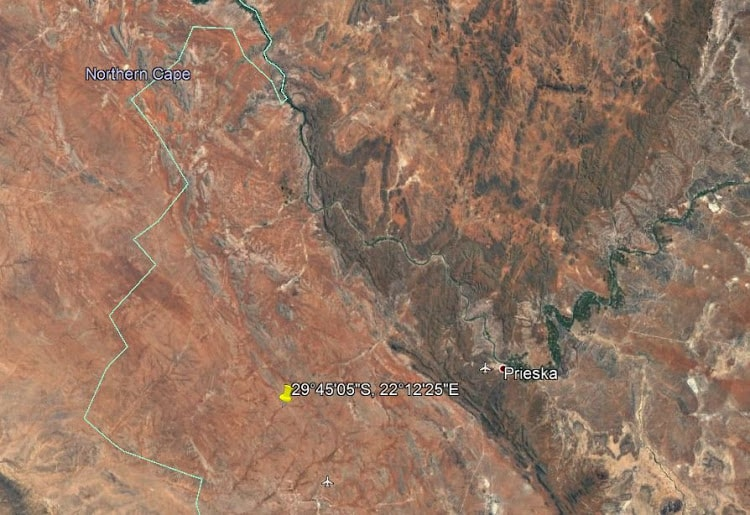 The yellow pin shows the location of Bundu Farm in the Northern Cape.