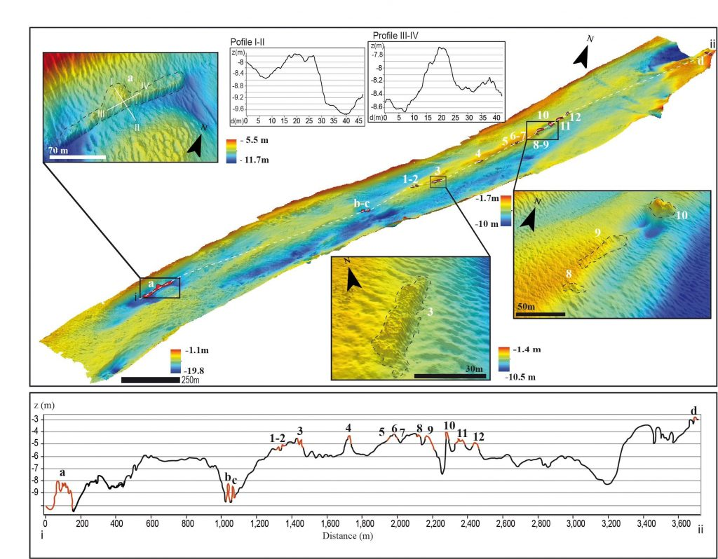 High resolution bathymetry of the Treporti Channel. The zoomed-in images show the details of some of the archaeological structures, one of which could possibly be part of a harbour (top left) Photo: Federica Foglini