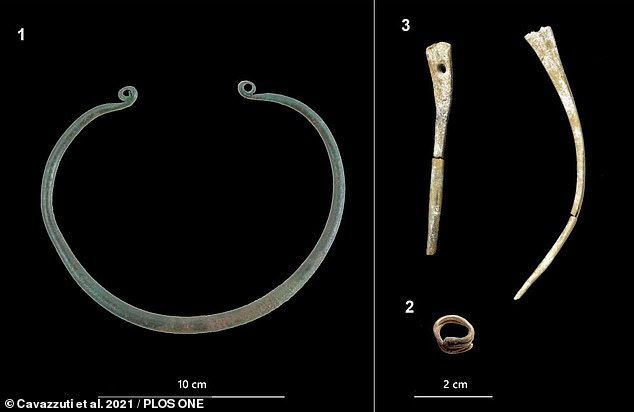 This contained an urn holding the ashes of an adult woman and two 28-32 gestational weeks-old fetuses, buried alongside goods including a golden hair-ring (bottom right), a bronze neck-ring (left), and two bone hairpin ornaments (top right).