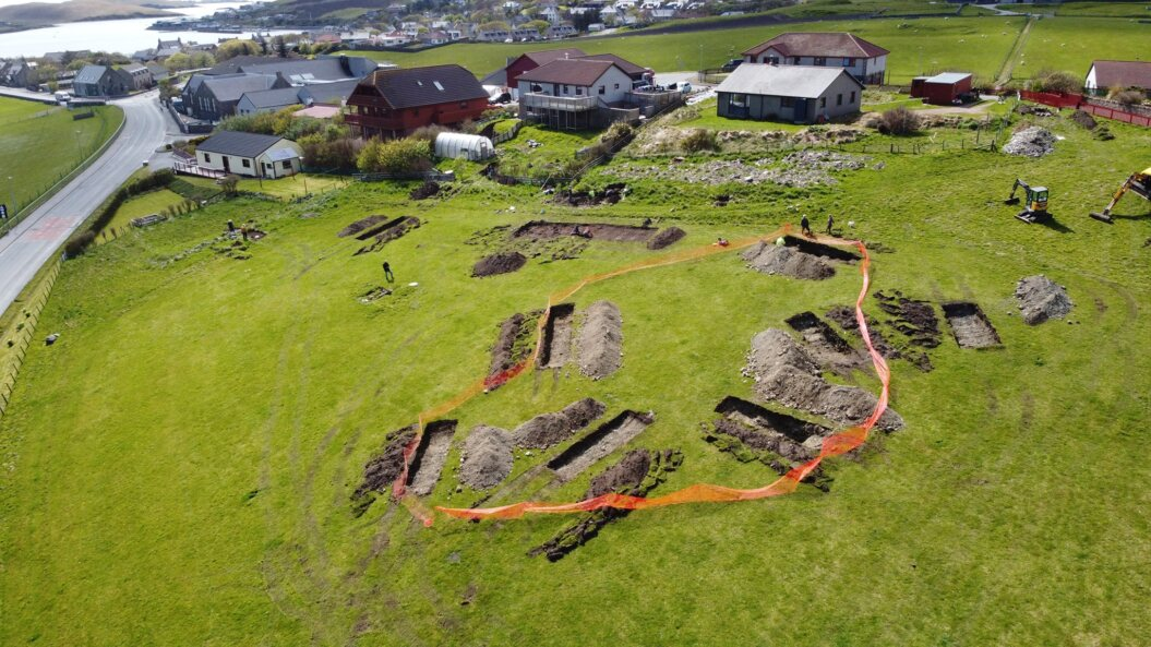 A drone image of the excavation site.
