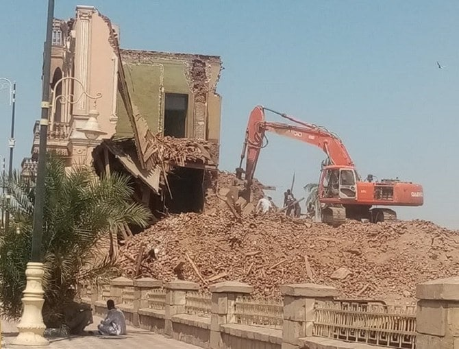 Andros palace being demolished