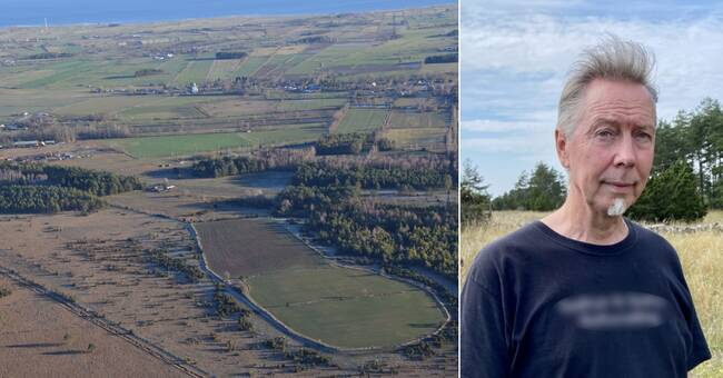 """The picture shows the lines of Sörby Borg. The large church can be seen above. Archaeologist Jan-Henrik Fallgren is the one who discovered the long """"lost"""" ancient fortress. Photograph: Jan-Henrik Fallgren (aerial photo) and SVT"""