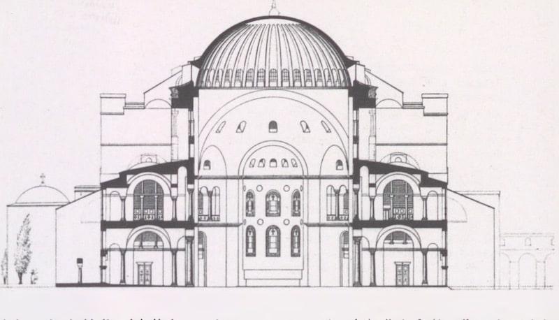 Cross-section of Hagia Sophia (from Antoniades). A: Semavi Eyice