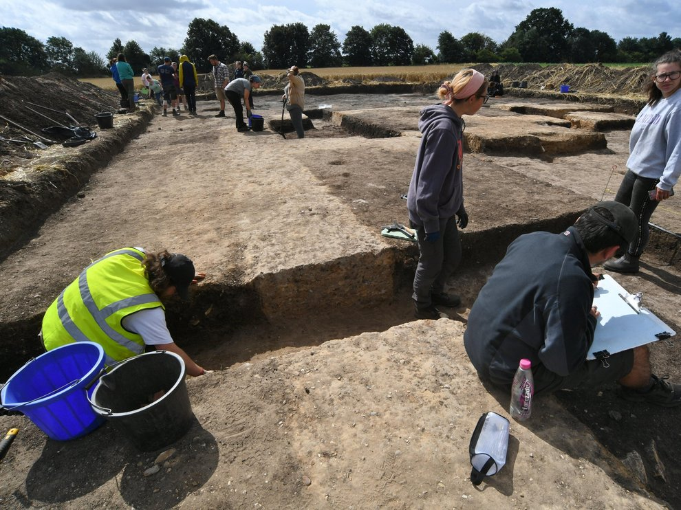 Newcastle and Sheffield University archaeology students and volunteers at work on the site near Crowland