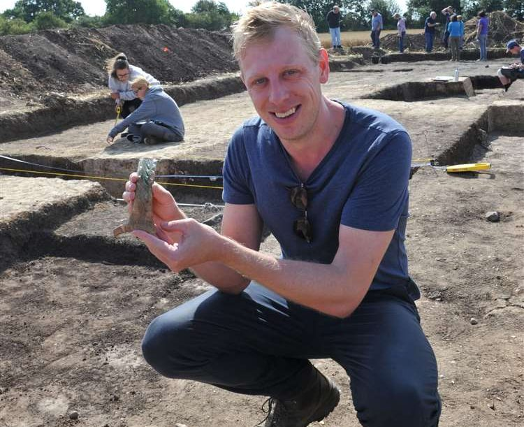 Duncan Wright at the archaeological dig in Crowland