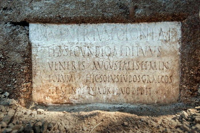Among those discovered is a marble inscription, which provides the first evidence that it was also repeated in Greek in the Roman colony's theaters, at least in the last decades before the eruption of 79 AD.