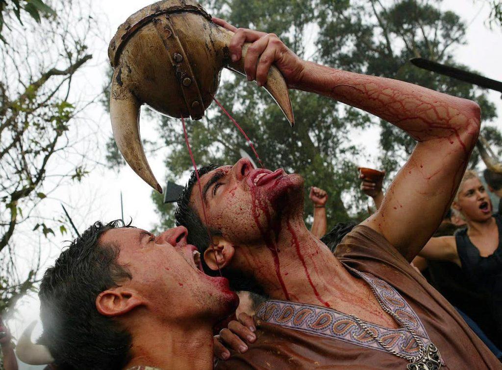 Wine, not weapons: a modern re-enactment of Vikings in Spain. EPA/Salvador de Sas