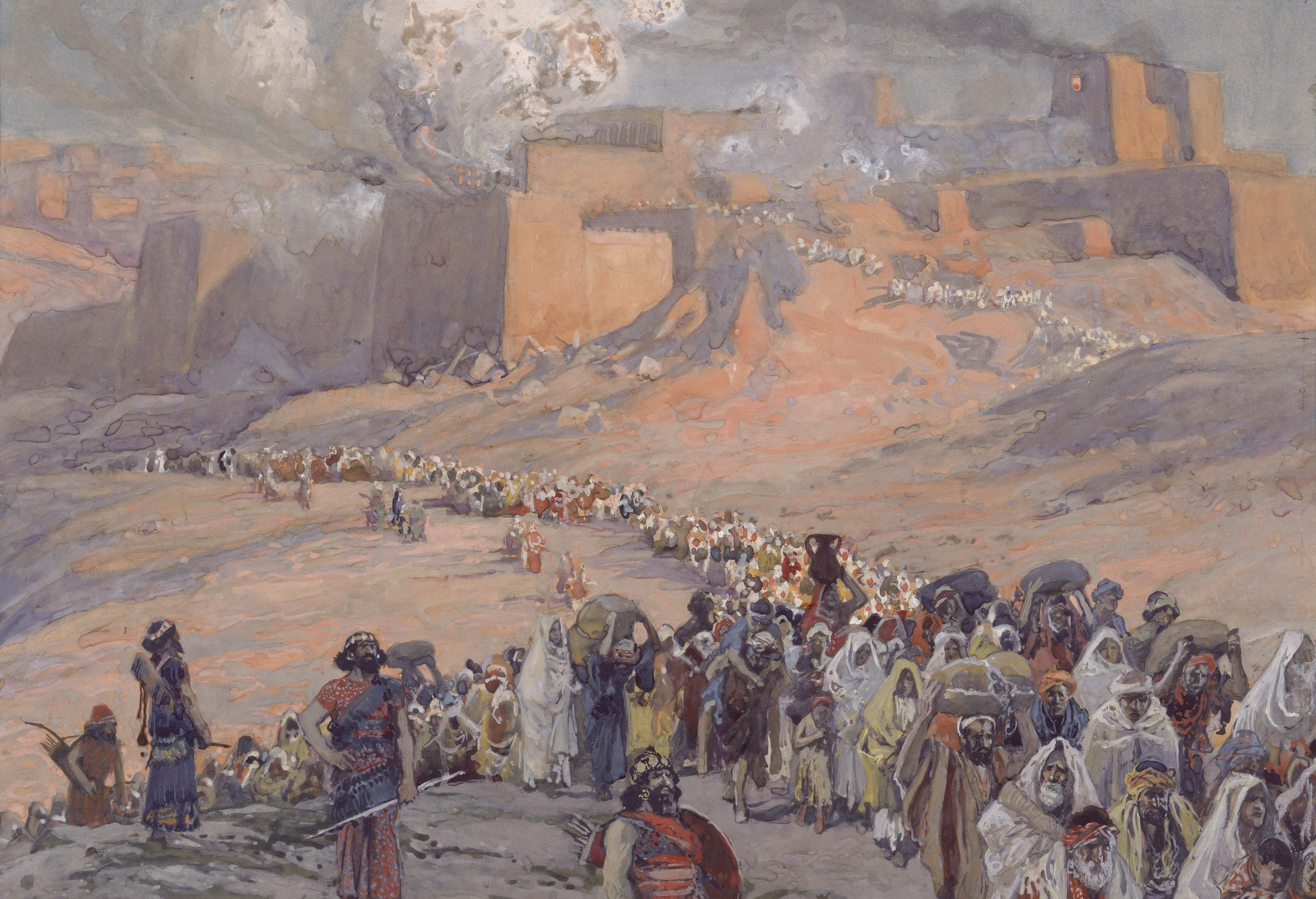 The Flight of the Prisoners (1896) by James Tissot; The exile of the Jews from Canaan to Babylon
