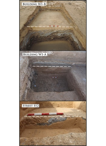 Levelling layers under buildings W1-B, W1-A and St2. The white dotted line marks the top of the levelling layers (photographs by Mariusz Gwiazda)
