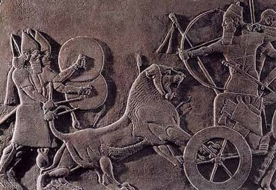 From the period of Assurnasirpal II (883-859 BC), six-spokes wheeled cars were used.