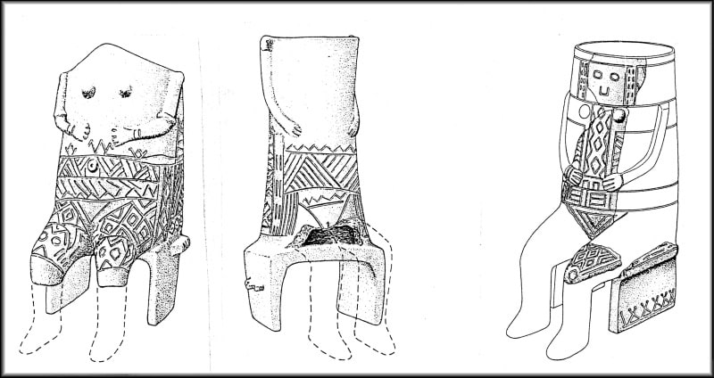 Szegvár - Tűzkoves. Reconstruction of the seated male statue of a printed culture. According to KOREK 1987.