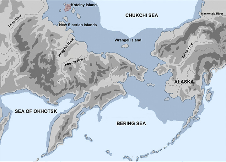 the northernmost human site in the Palaeolithic era  Kotelny island