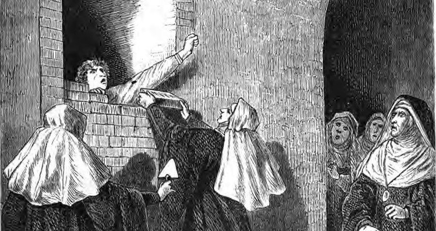 A depiction of the immurement of a nun, 1868.