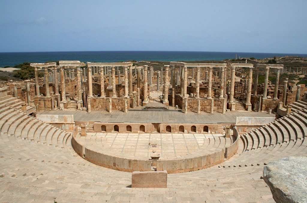 The theater of Leptis Magna with a capacity of 15,000 spectators on its arched terraces overlooking the sea.