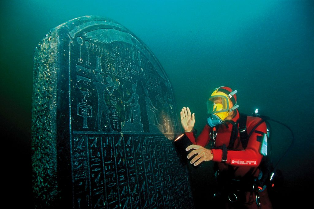 This stele reveals that Thonis (Egyptian) and Heracleion (Greek) were the same city. Photograph: Christoph Gerigk/Franck Goddio/Hilti Foundation