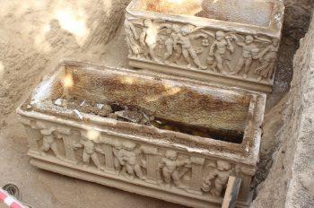 A view from two sarcophagi found in Hisardere Necropolis, Iznik, Bursa, northwestern Turkey. (IHA Photo)