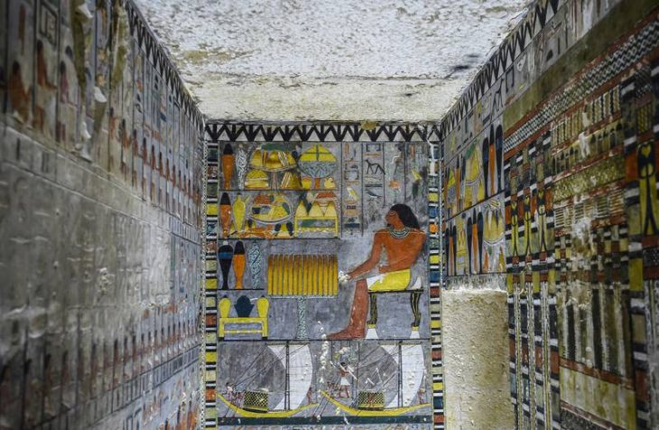 The interior of the tomb of an ancient Egyptian nobleman called Khuwy, which was discovered in 2019, about 35 kilometres south of the capital Cairo. The mummified body of Khuwy has been found to be older than previously thought. AFP